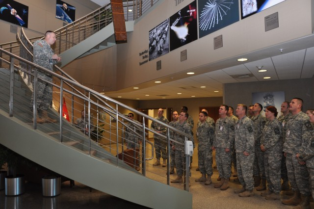 USASMDC/ARSTRAT Deputy Commanding General for Operations, Brig. Gen. Kurt S. Story, welcomes Reserve Officer Training Corps cadets from the University of Colorado at Colorado Springs. The ROTC cadets received a tour of the building as well as briefings from several junior officers within the command.