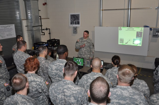 Capt. Jason Needler give a SATCOM presentation to eh visiting Reserve Officer Trianing Corps cadets from the University of Colorado at Colorado Springs.
