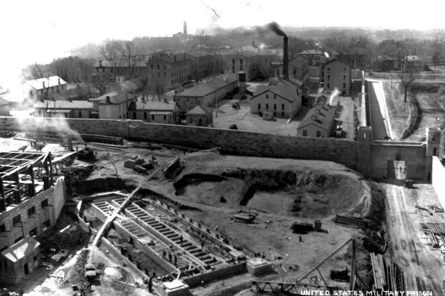 Construction of Four Wing of the Castle began in 1911 and was completed in 1914. Railroad tracks came through West Gate to the construction site at Fort Leavenworth, Kan.