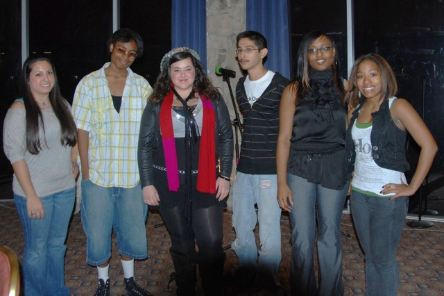 """Six local teen poets competed during the Family Advocacy Program Teen Poetry Slam held Feb. 6 at the Sam Houston Club. They are from (left to right) Alexa Rae Bocanegra 17; Quinton """"PJ"""" Miller, 17; Kellee Greenwood, 16; Joe Cavasos,17; Bria Banks ,16; and Alexus DeWitt, 16."""