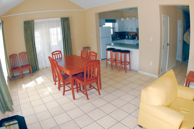 Destin Army Recreation Area has hotel rooms and apartments for rent.  RV sites are available for rent, too.  The Recreation Area is undergoing room renovations.