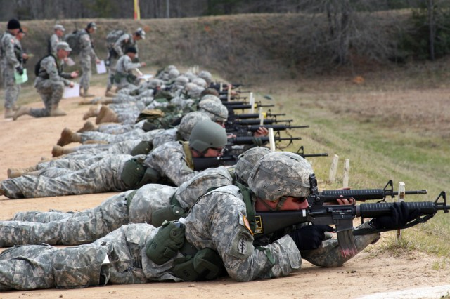 Soldiers and Cadets fire rifles during the 2009 U.S. Army Small Arms Championships. All Soldiers, Cadets, Army Reservists and National Guard members are eligible to compete in the 2010 'All-Army' Feb. 20-27 at Fort Benning hosted by the U.S. Army Marksmanship Unit. Prizes and scholarship money are available to those who fare well.