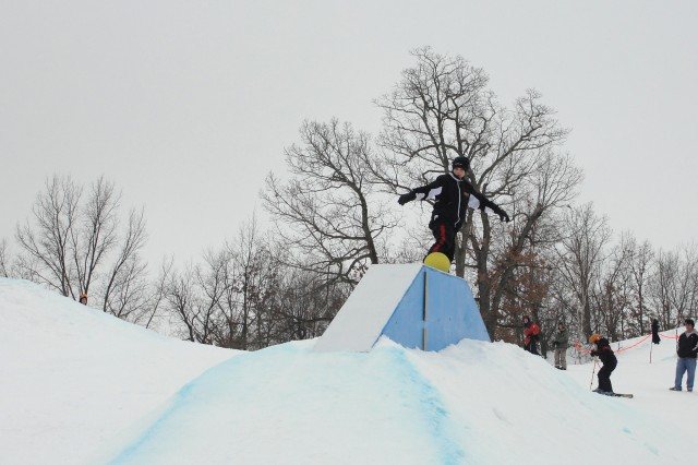 A Winter Extravaganza participant shows off his skills during the rail jam at the Jan. 23 event at Fort McCoy's Whitetail Ridge Ski Area.