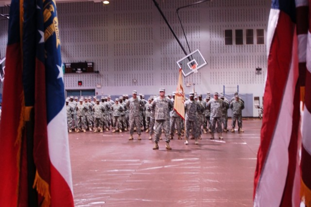 Ninety Georgia Army National Guard Soldiers from the Headquarters and Headquarters Detachment, 110th Combat Sustainment Support Battalion, gathered in the Neal Fitness Center on Fort Gillem Monday for a departure ceremony. Following the ceremony, the unit left for Fort Bliss, Texas, where they will stay until March, when they are scheduled to deploy to Iraq.