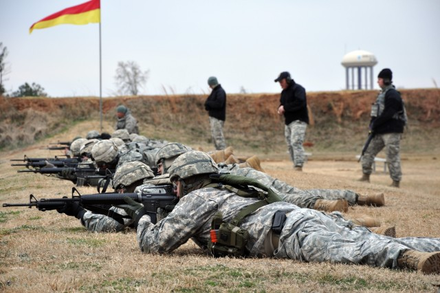 FORT BENNING, Ga.--Soldiers brave the cold and wind to compete in the Fort Benning Maneuver Center of Excellence Rifle Championships Feb. 11 at Easley Range. (Photo by Michael Molinaro, USAMU PAO)
