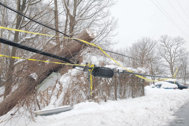 A downed power line and transformer were a result of the storm and contributed to power outages in Dogue Creek Village.