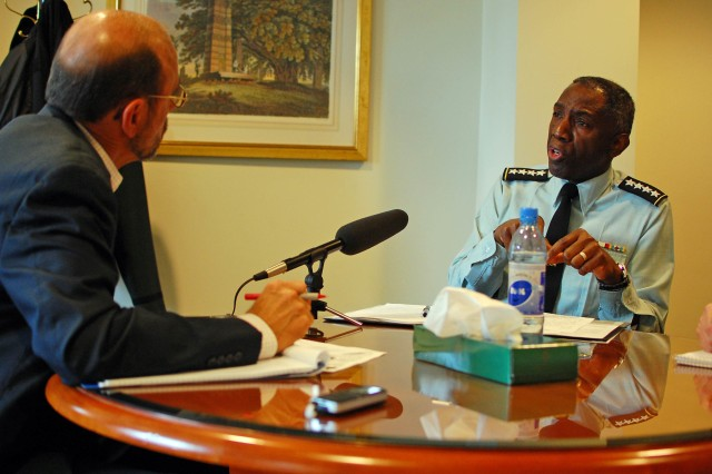 ADDIS ABABA, Ethiopia - Gen. William Ward, commander, U.S. Africa Command, is interviewed February 9, 2010, by Peter Heinlein, Addis Ababa correspondent for Voice of America. Ward discussed U.S. support to the African Union, based in Addis Ababa, as well as security issues across Africa. Ward visited Ethiopia and Djibouti February 8-10 for a series of meetings on U.S. military support to the African Union and African nations' regional security initiatives.