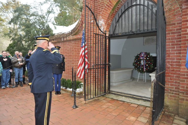 Maj. Gen. Karl Horst, commander, Joint Force Headquarters/ National Capital Region and the U.S. Army Military District of Washington, during the presentation of the Presidential wreath at George Washington's tomb in Mount Vernon, Va. February 15, 2010.