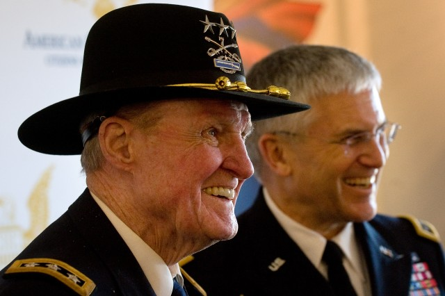 "Army Lt. Gen. Harold Moore, ret., and Gen. George W. Casey Jr., Chief of Staff of the Army, answer questions during a press conference at the conclusion of the American Citizenship Trust  National Freedom ceremony in Montevallo AL, Feb. 15, 2010.  Moore who was portrayed by Mel Gibson in the movie ""We were Soldiers"" was the first recipient of the National Freedom Award gave the keynote address during this years presentation to the joint recipients Maj. Gen. George W. Casey, Sr., posthumously, and Gen. George W. Casey, Jr.  US Army photo by D. Myles Cullen"