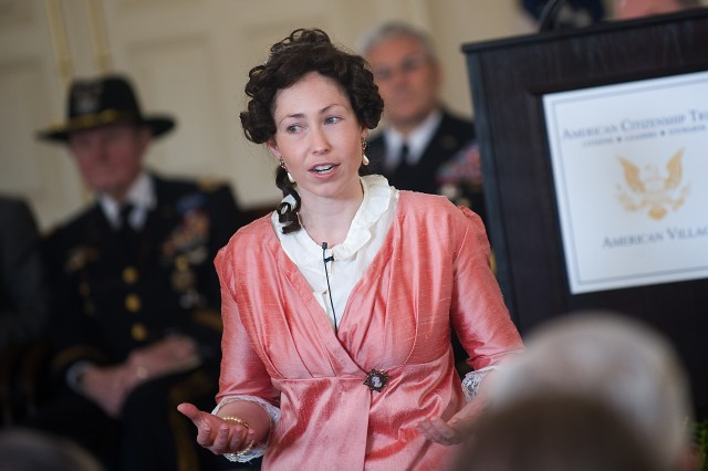 Historical interpreter, Noel Stewart, portrays Abigail Adams as part of the  National Freedom ceremony in Montevallo AL, Feb. 15, 2010.  Abigail Adams was the wife of John Adams, who was the second President of the United States, and the mother of John Quincy Adams, the sixth.