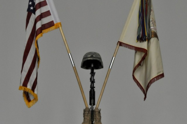 A memorial stands in the memory of Sgt. Terry L. Rishling, Fargo, N.D., a member of Alpha Co., 231st  Maneuver Task Force, at Camp Bondsteel, Kosovo. Rishling died Feb. 11 while deployed with Multi-National Battle Group - East, Kosovo Forces 12, on a NATO peacekeeping mission.