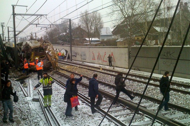 Waiting to escape the wreckage, Yves Grandmaison shot pictures through the train window to try to understand what had happened. The spouse of a USAG Benelux employee was aboard one of the trains involved in the accident in Belgium Feb. 15.