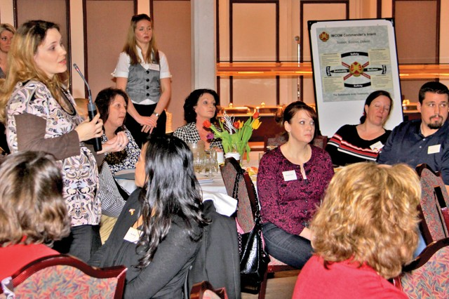 A family member makes a comment during Baumholder's Spouse Summit Feb. 5.
