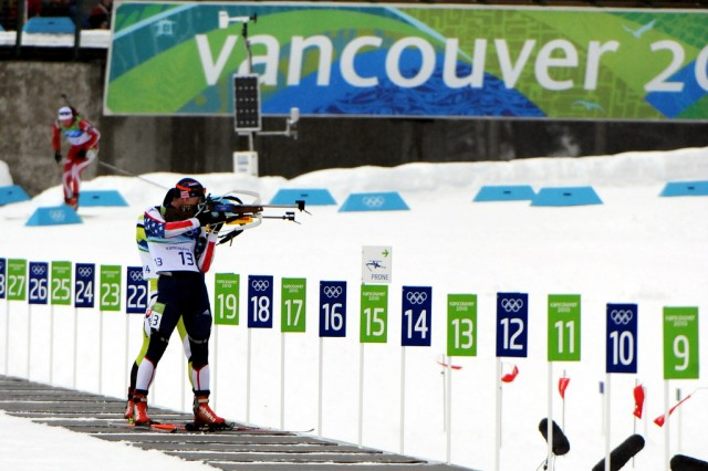 U.S. Army World Class Athlete Program biathlete Sgt. Jeremy Teela shoots to a ninth-place finish in the Olympic men's 10-kilometer sprint Feb. 14 at Whistler Olympic Park in British Columbia, Canada.