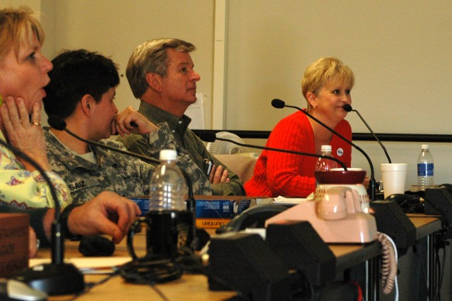 FORT HOOD, Texas- Lisa Phelps, wife of Col.  Larry Phelps, the commander of the 15th Sust. Bde., 13th ESC speaks to Phelps and his command team during a video teleconference at the brigade's headquarters building, here Jan. 22. (U.S. Army photo by Cpl. Jessica Hampton, 15th Sustainment Brigade Public Affairs)