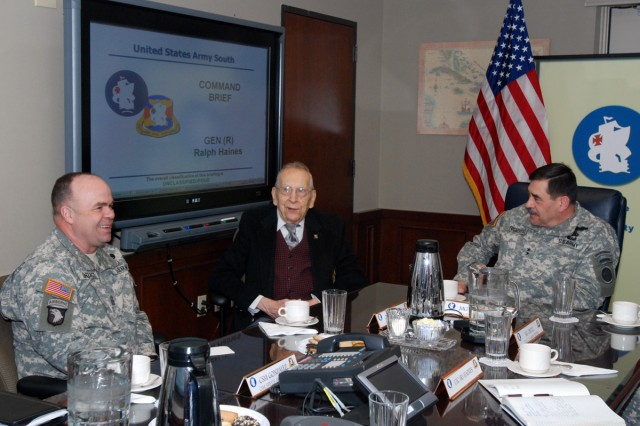 "(left to right) Command Sgt. Maj. Luis Gonzalez, acting U.S. Army South command sergeant major, retired Gen. Ralph E. Haines, Jr. and U.S. Army South Commanding General Maj. Gen. Simeon G. Trombitas share a lighter moment before a briefing at U.S. Army South's headquarters in historic ""Old BAMC"" Feb. 11. (Photo by Robert R. Ramon, U.S. Army South Public Affairs/RELEASED)"