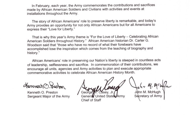 Tri-signed letter for African American History Month