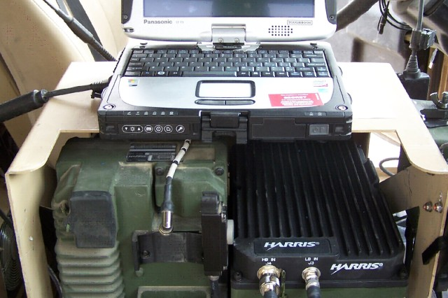 FOB WALTON, KANDAHAR PROVINCE, Afghanistan - PRC-117G amplified mounting, with Panazonic CF-19 Toughbook.