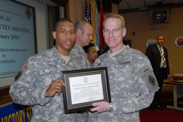 Sgt. 1st Class James Tucker, a Certificate of Appreciation for assisting with EEO training and conducting EEO mediation, from the U.S. Army Chaplain Center and School.