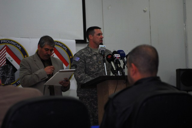 Maj. Jim Hathaway, operations officer for the 2nd Battalion, 69th Armor Regiment, speaks to Iraqi media during a press conference at Forward Operating Base Kalsu, Feb. 15, 2010. The 2nd Bn., 69th AR have been working with the Babil Provincial Reconstruction Team to rebuild Iraq's essential services and stimulate economic growth.