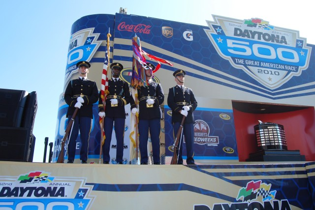 The Continental Color Guard post the colors at Daytona 500 on Feb. 14.