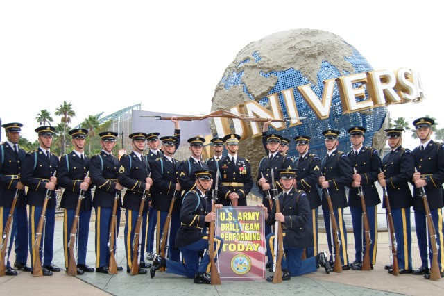 The U.S. Army Drill Team strikes a pose at Universal Studios, Orlando, Fl. after performing for the public on Feb. 13.