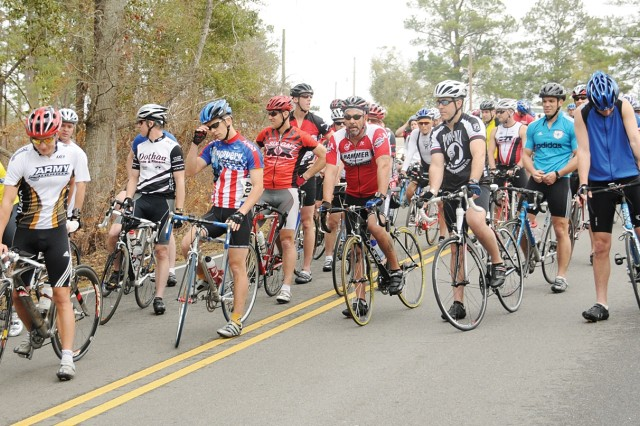 Competitors in the 2009 Fort Rucker West Beach Out and Back Road Bike race line up to begin the competition. DFMWR staff hosts the annual event Feb. 20 at Lake Tholocco's West Beach at 9 a.m.