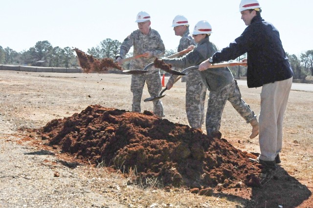 Installation and Garrison Chaplain (Col.) Stephen Cook, USAACE and Fort Rucker Commanding General Maj. Gen. James O. Barclay III, Garrison Commander Col. Yvette Kelley and The Clement Group President Craig Clement, officially break ground on the post's new chapel at Guthrie Airfield.