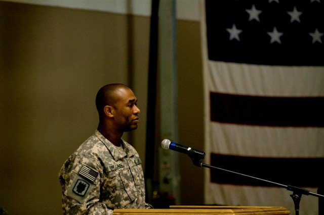 Maj. Bernard Brogan, the operations officer with the 72nd Expeditionary Signal Battalion, 35th Signal Brigade, U.S. Army Network Enterprise Technology Command, gives the keynote address at the Black History Month observance luncheon Feb. 19, at Joint Base Balad, Iraq. Brogan, a Muscle Shoals, Ala., native, and a graduate of the Tuskegee Institute, spoke about the history of the Tuskegee Airmen, an all-black unit that later became the 332nd Air Expeditionary Wing, and its contribution to the de-segregation of the U.S. military.