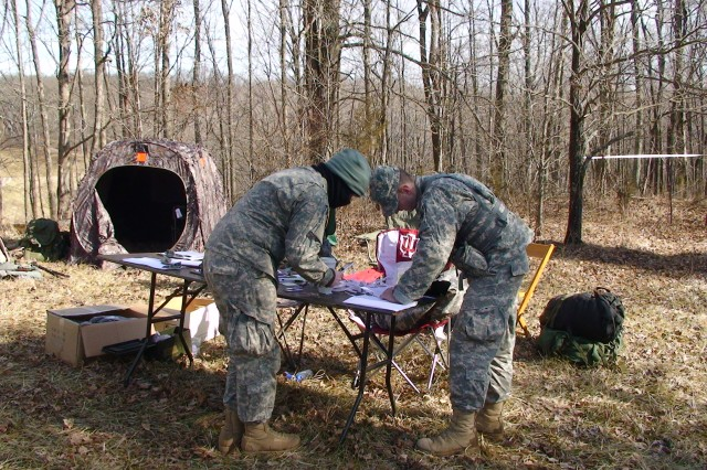 IU ROTC Staff works out final details of the land navigation training at Crane Army Ammunition Activity.