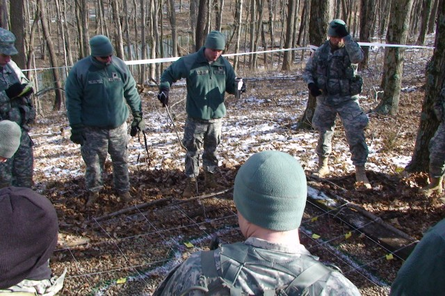 Course familiarization before the IU ROTC Cadets head out into the woods at Crane Army Ammunition Activity.
