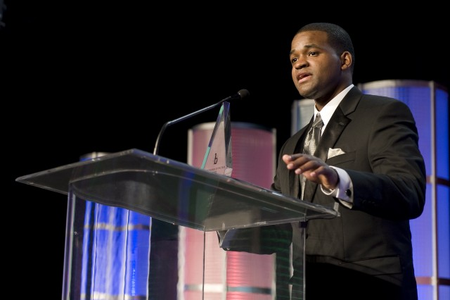 Jeremy D. Laster, a structural engineer for the U.S. Army Corps of Engineers New Orleans District, accepts the award for Most Promising Engineer or Scientist in Government at the 24th Annual Black Engineer of the Year Awards, Feb. 20.