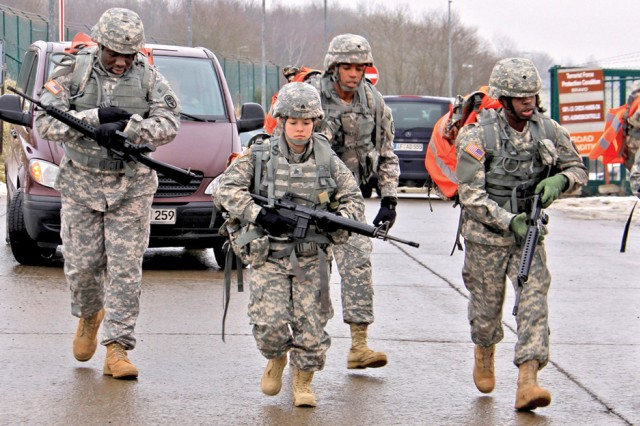 Dental technicians from Baumholder, Heidelberg and Grafenwoehr start the six-mile road march portion of the Dental Command Warrior of the Year competition in Baumholder.