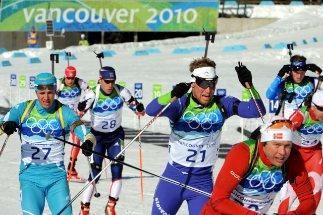 U.S. Army World Class Athlete Program biathlete Sgt. Jeremy Teela (bib number 28) skis to 29th place in the Olympic men's 15-kilometer mass start race Sunday at Whistler Olympic Park in British Columbia.