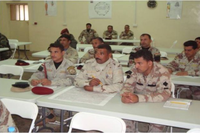 Senior noncommissioned officers sit in class at the Senior NCO school in Taji, Iraq. The Senior NCO Course is 45 days of training, including introduction, qualification and certification classes.