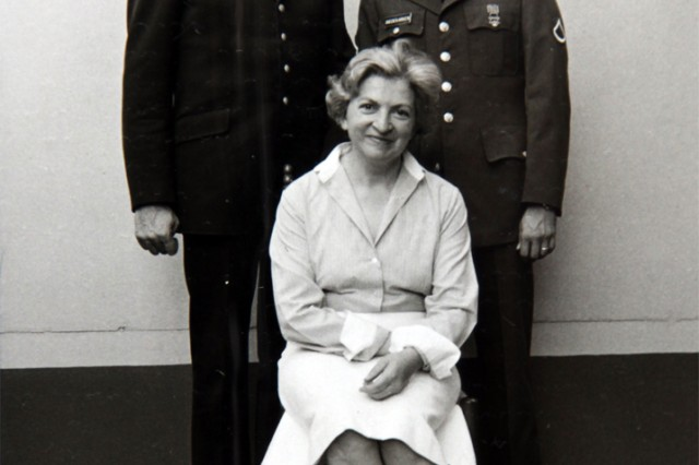 Then, Pfc. Dieter Biedekarken (top right), carpentry and masonry specialist, takes a photo with his parents while on leave in the spring of 1983 in Cologne. Biedekarken's father was the deputy fire chief of Cologne at that time, the equivalent of a colonel. His mother was wearing her nurse's uniform. She was the head nurse of the neurosurgical ward of the University Medical Center in Cologne. (Courtesy photo)