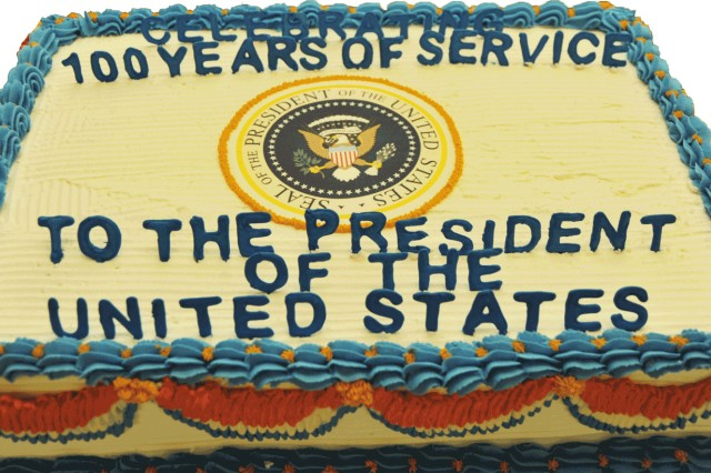 The Centennial Cake for the White House Transportation Agency. February 17, 2010.
