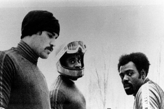 From left to right, bobsledders Jeff Jordan of Canada, Jeff Gadley and Willie Davenport of the U.S. team competed in the 1980 Winter Olympics in Lake Placid, N.Y. (Photo courtesy of the U.S. Olympic Organizing Committee)