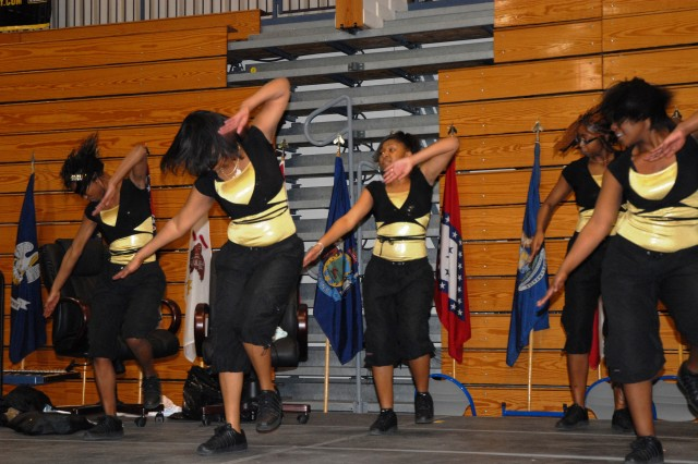Steppers with Fort Jackson's Nikay Step Team perform for the crowd during the post's annual Black History Month event, which was hosted by the 165th Infantry Brigade.