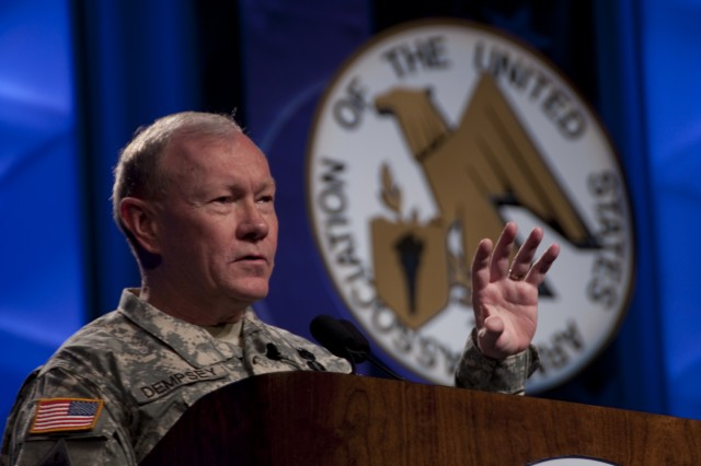 Gen. Martin E. Dempsey, commanding general of Training and Doctrine Command, gives a speech during the Winter Symposium for the Association of the United States Army in Fort Lauderdale, Fla., on Feb. 25, 2010. The speech was on TRADOC's  perspective on the Army's need to adapt and decentralize while retaining the fundamentals that have succeeded throughout the Army's history.