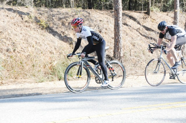 Nick Dason takes the lead during the Feb. 20 West Beach Out and Back Road Bike race at Fort Rucker. Dason defended his last year's title with a time of 25 minutes, 25 seconds.