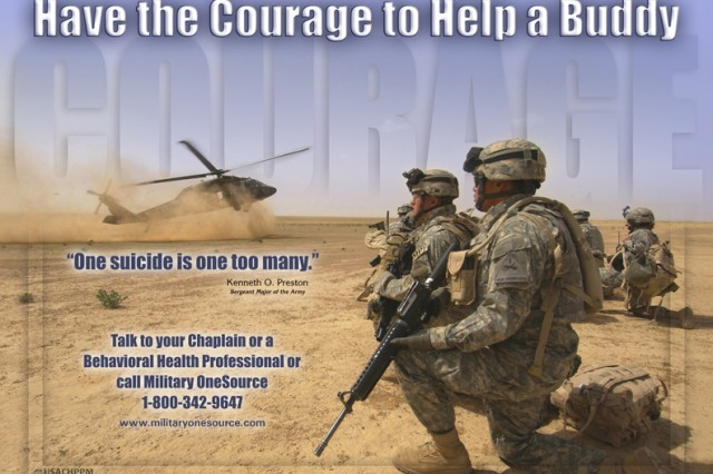 Army suicide-prevention posters can be downloaded from the Army Center for Health Promotion and Preventative Medicine Web site http://chppm-www.apgea.army.mil/ under the suicide-prevention section.
