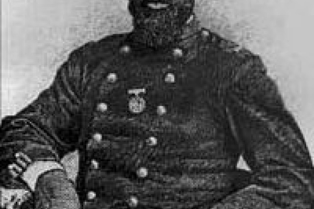 """Sgt. William H. Carney, a Soldier in the Union Army who received a Medal of Honor for his valor at the assault on Battery Wagoner on Morris Island, S.C. (depicted in the movie """"Glory"""") loved America so much despite being born into slavery, that during the battle he refused to let the flag touch the ground despite suffering wounds to both legs, his chest and arms. He is considered the first black Soldier to win the Medal of Honor although clerical errors kept him from receiving it until after others received theirs."""