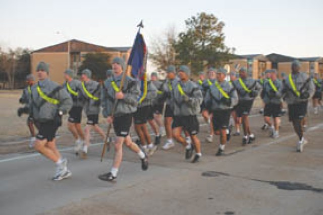 51st Chemical Company, 83rd Chemical Battalion, participated in the 48th Chemical Brigade run Feb. 16, which kicked off the brigade offsite event.