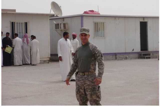 Maj. Carey Luse, Biometric Exploitation Officer Multi-National Corps-Iraq, outside the C3 Biometrics Cell facilities, Iraq, on Oct. 9, 2009.