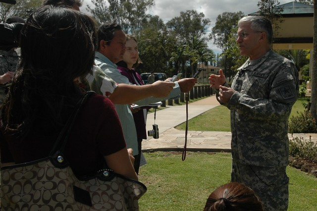Gen. George W. Casey Jr., Army chief of staff, speaks to media at Schofield Barracks, Hawaii, Feb. 26. Casey explained the Army's efforts to help Soldiers and families deal with the stress of multiple deployments during his visit to the 25th Infantry Division headquarters.
