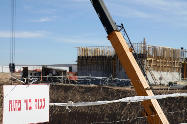 """Construction continues on several projects at Nevatim Air Base, an Israeli Air Force base in southern Israel that the U.S. Army Corps of Engineers Europe District has helped the IAF build up to be their new """"mother base."""" The move from the Lod - 60 miles to the north - has been called one of the largest and most important military projects in the history of Israel."""