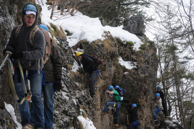 """HIRSCHBACH, Germany AcE+' Soldiers from the 172nd Infantry Brigade perfect their """"klettersteig"""" skills in Hirschbach, Germany, during a Warrior Adventure Quest outing."""