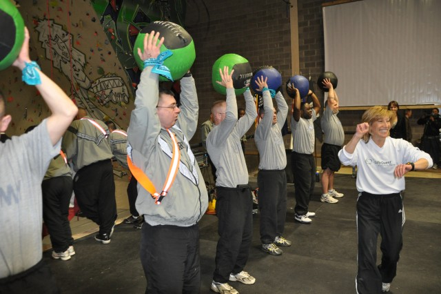 FORT CARSON, Colo.-Wounded warriors from Fort Carson lift medicine balls during their activities at LifeQuest.