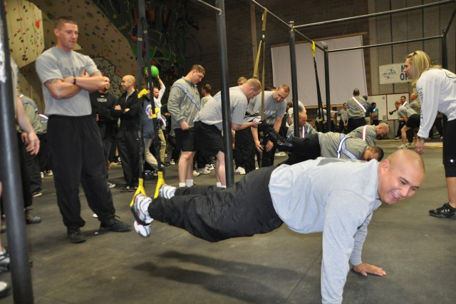 FORT CARSON, Colo.-A wounded warrior has fun getting exercise as others are helped by fellow Soldiers and supervised by a LifeQuest volunteer.